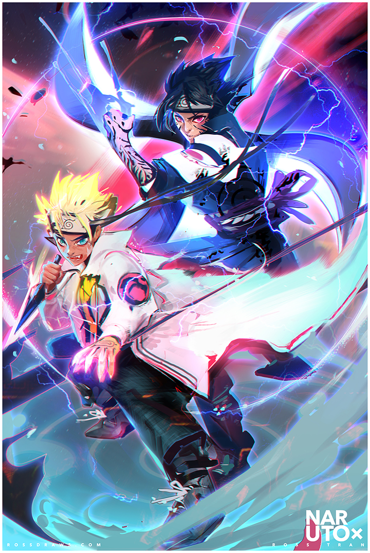 Naruto and Sasuke by rossdraws