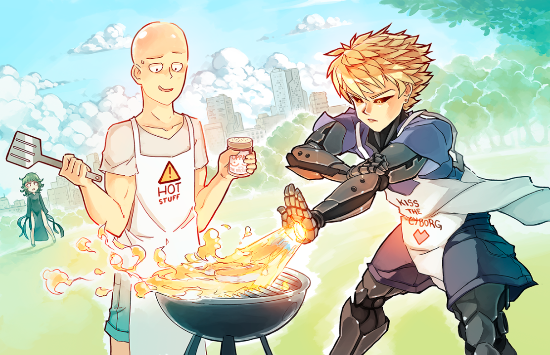 Saitama and Genos Cooking by rtil