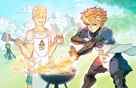 Hero-Level Cooking – Saitama andGenos