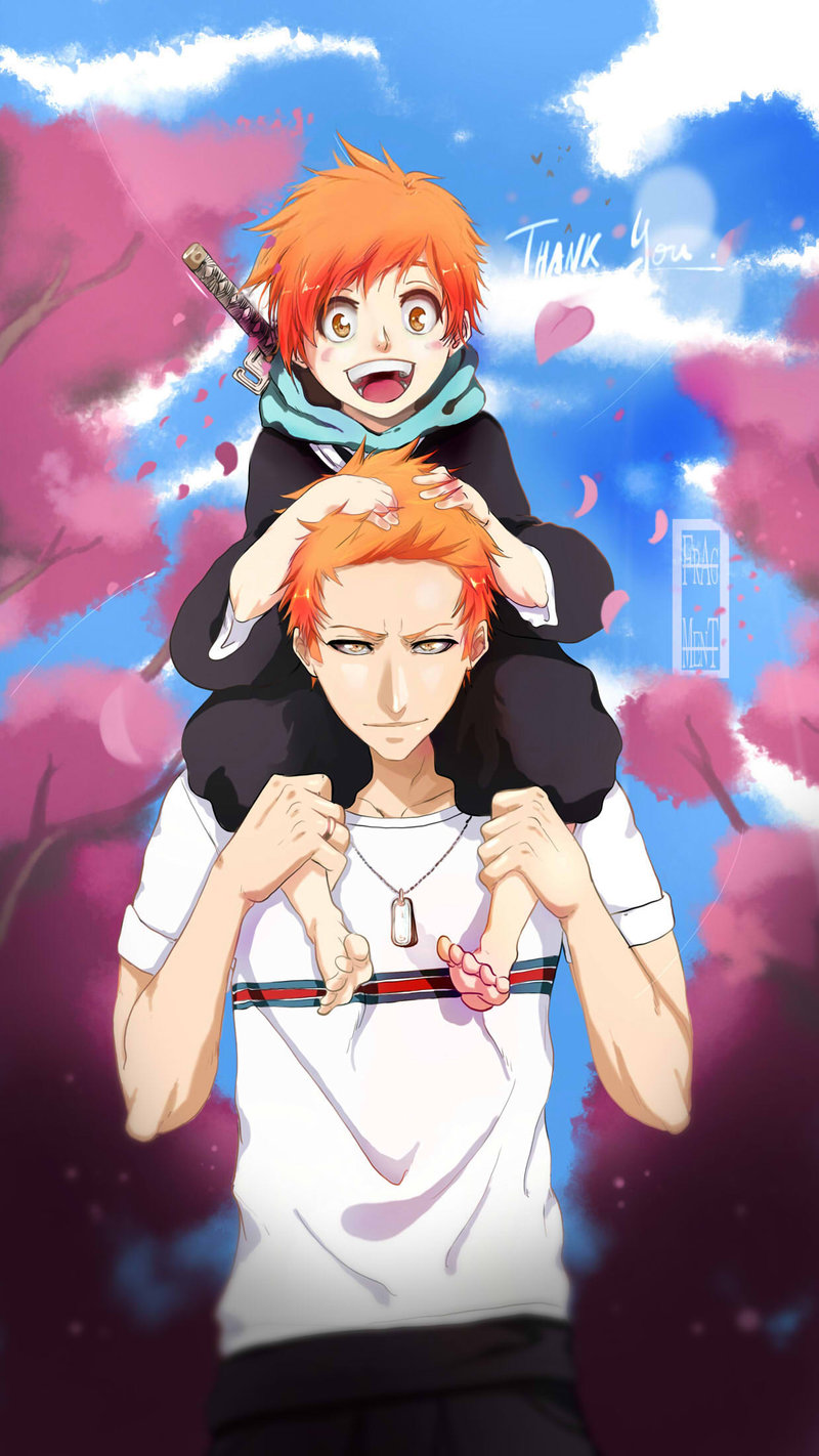 Bleach Ichigo and Kazui father and son by ifragmentix