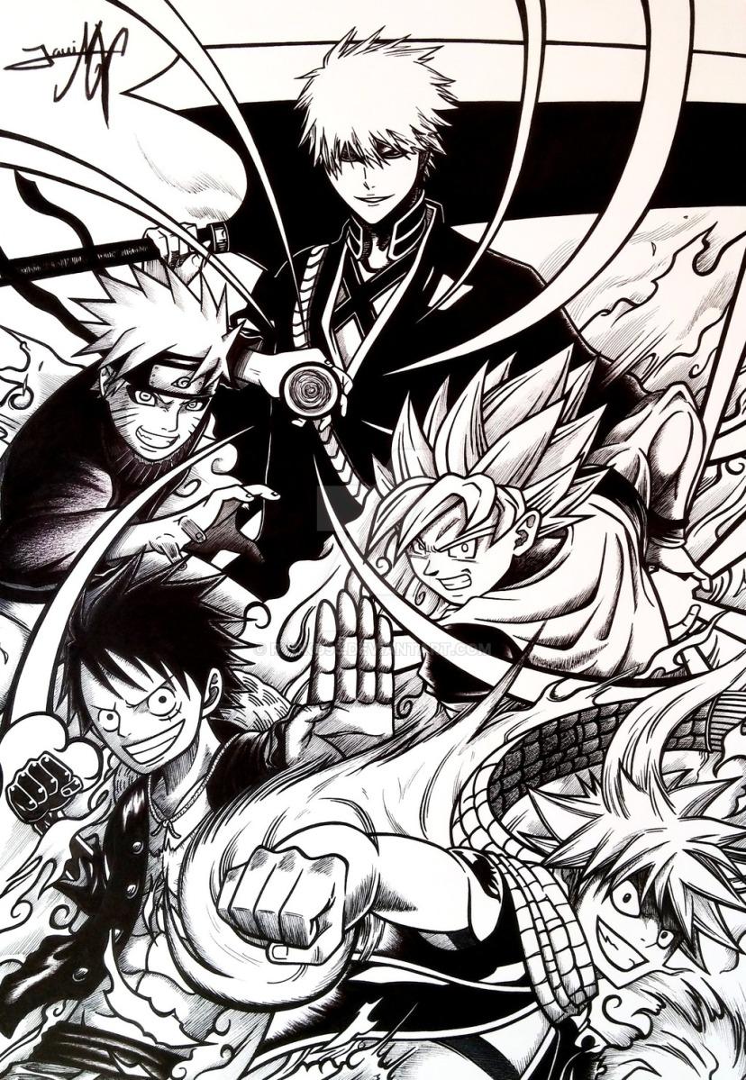 Fantastic Five – Ichigo Naruto Goku Luffy and Natsu ...