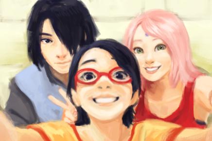 Uchiha Family Selfie – Sasuke Sakura andSarada