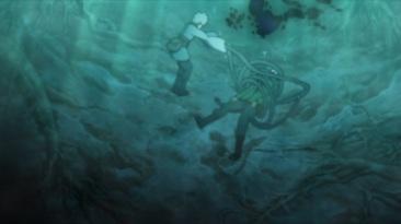 Mitsuki defeats Shino underwater