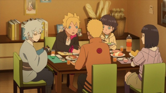 Naruto eats with family