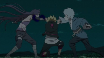 Boruto blocks Sumire and Mitsuki