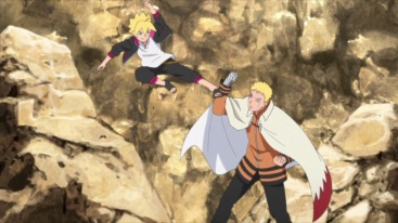 Boruto attacks Naruto