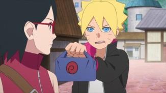 Boruto passes Naruto's lunch to Sarada