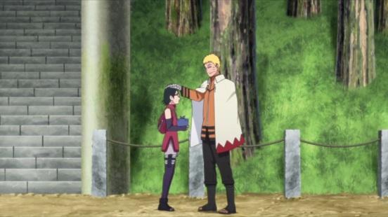 Naruto comforts Sarada