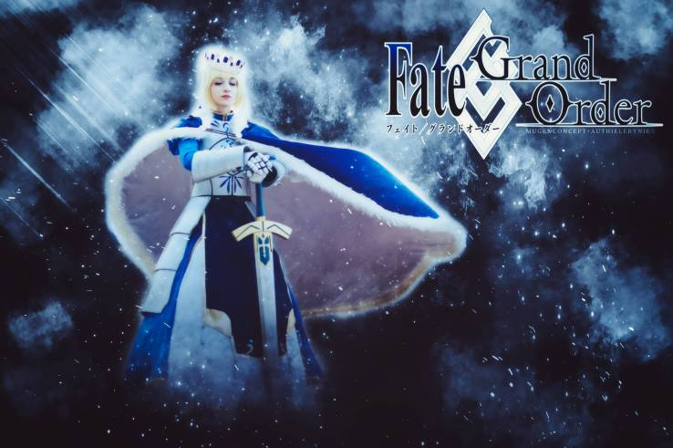 Saber Pendragon Fate Grand Order Anime Poster by Artoria Grey Cosplay