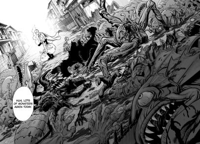Saitama kills monsters